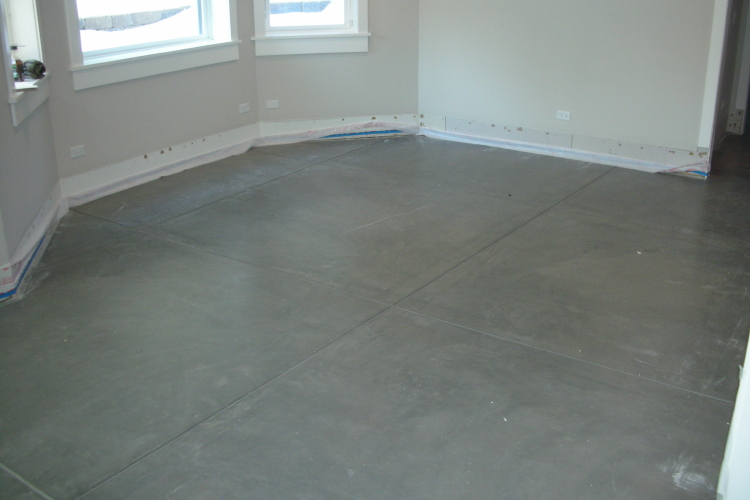 Finished Basement New Concrete Floor Clear Sealed Without Removing Paint Spatter