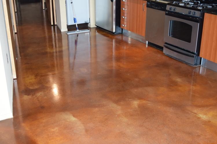 Luxury Loft Condominium Building Acid-Stained Concrete Floor