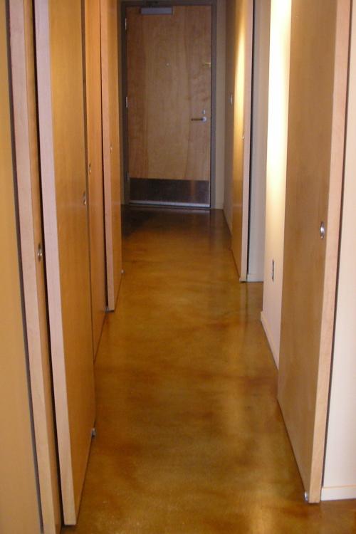 Luxury Loft Condominium Building Amber Acid-Stained Concrete Hallway Floor