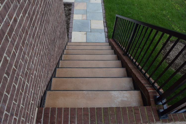Integrally Colored Concrete Steps With Peeling Sealer