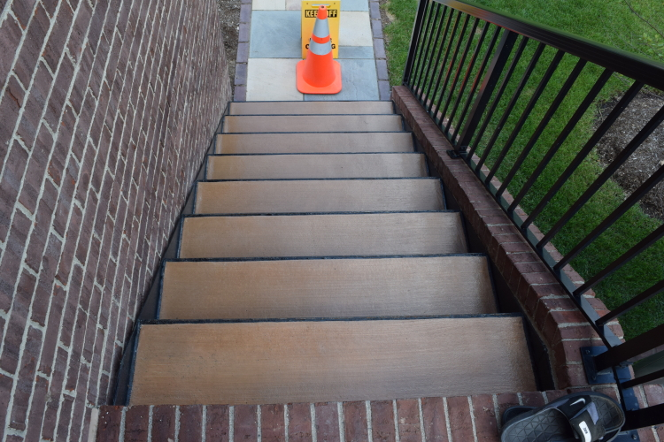 Backyard Concrete Steps With Integral Color And Clear Sealer