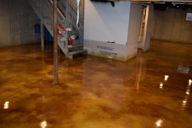 Gold Acid-Stained Basement Concrete Floor With Brown Highlights, Clear Epoxy Sealer