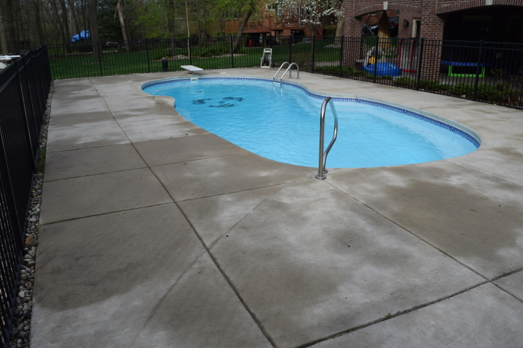 Unfinished Backyard Concrete Pool Deck Before Spray Texture, Decorative Concrete Overlay