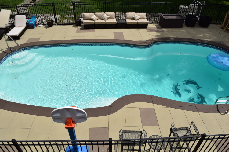 Spray Texture, Decorative Concrete Backyard Pool Deck With Border And Saw-Cut Design