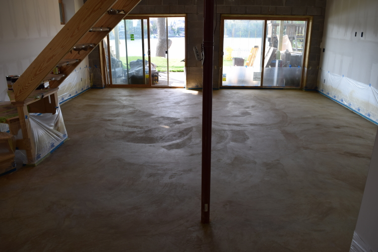 Rough-Troweled Basement Concrete Floor Cleaned Before Acid-Staining