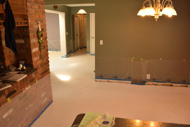 Repaired White Cement Overlay Of Ground Floor Of Home Before Acid-Staining