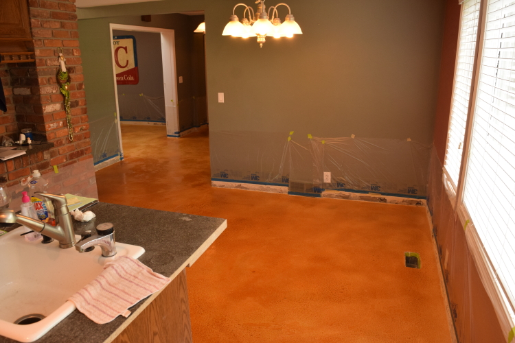 Acid-Stained Cement Overlay Of Home Interior First Floor