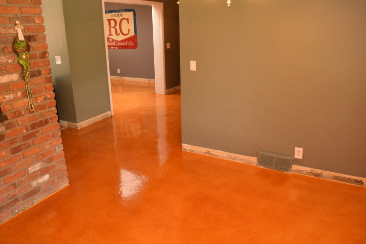 Acid-Stained-Cement-Overlay Of Home Interior First Floor