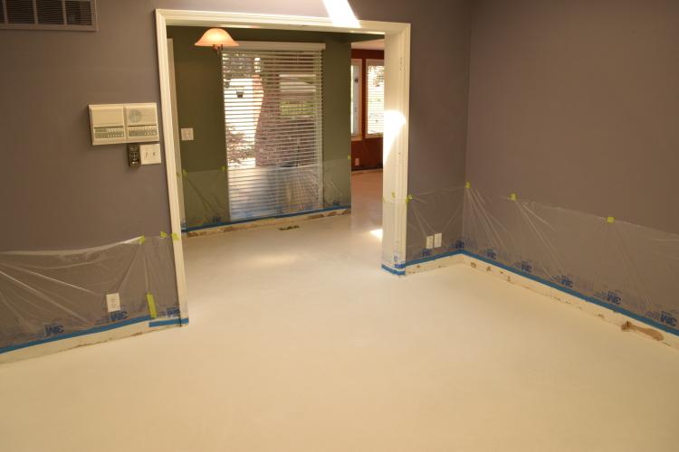 White Cement Overlay Of Home Interior Ground Floor Before Acid-Staining