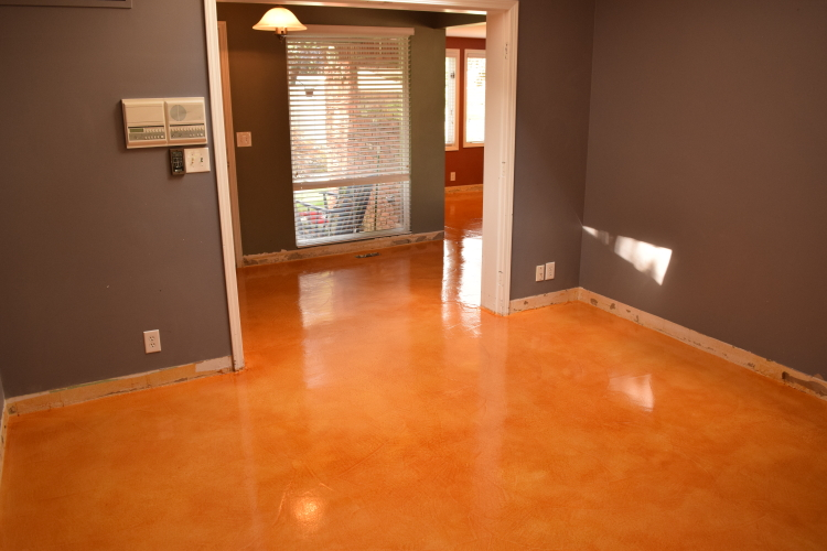 Acid-Stained Cement Overlay Of Home Interior First Floor With Clear Epoxy Sealer