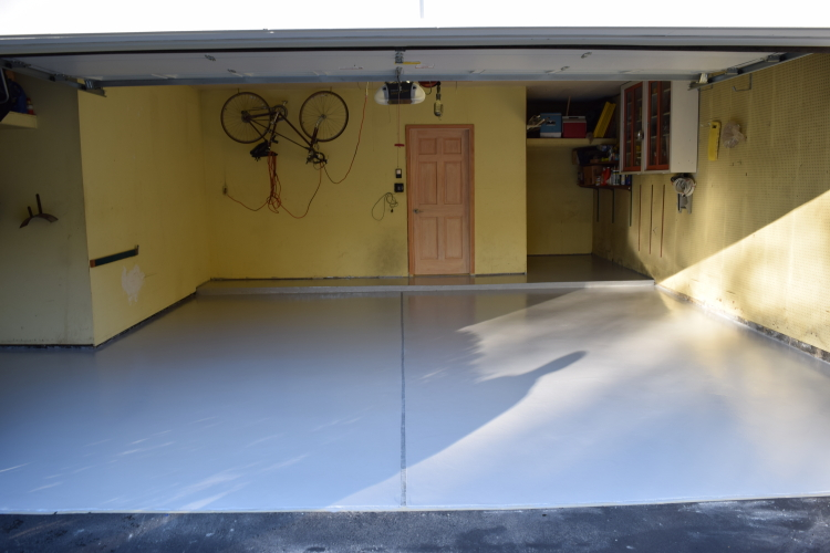 Two-Car Garage Concrete Floor With New, Gray Polyurea Coating
