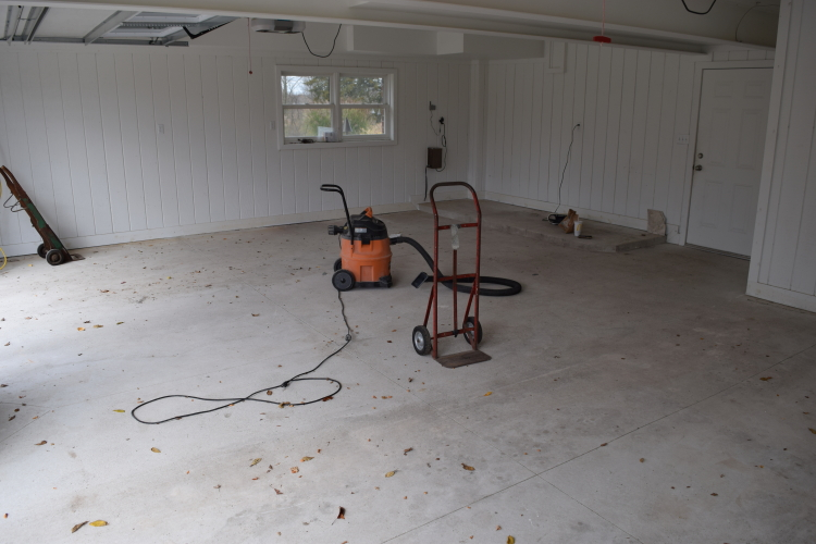 New Garage Concrete Floor Before Cleaning And Acid-Staining