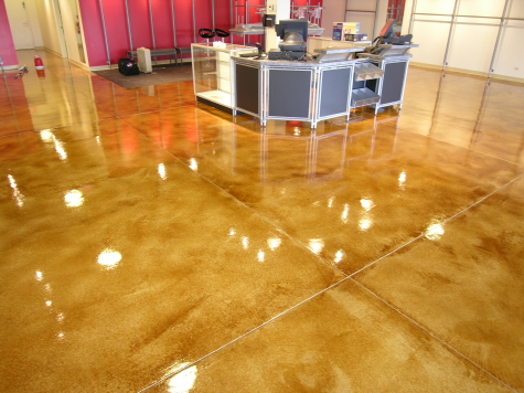 New Chicago Area Retail Store With Acid-Stained Cement Overlay and Clear Epoxy Sealer