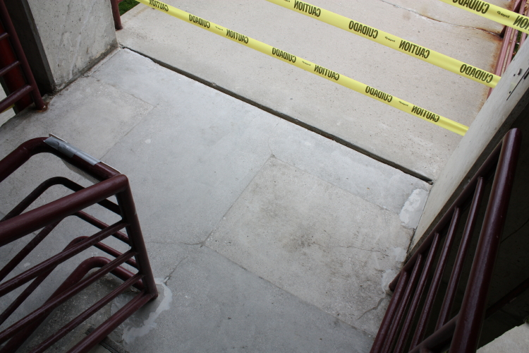 Parking Deck Concrete Stairwell Prior to Repairs and Coating