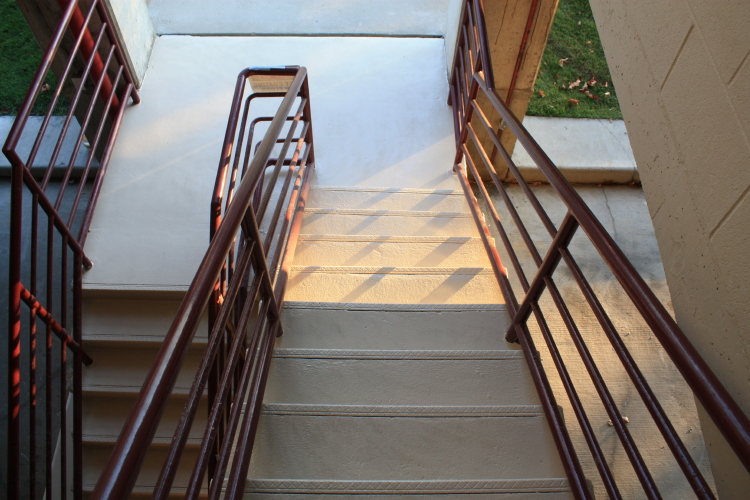 Exterior Concrete Stairwell of Parking Deck After Repairs And Installation of New Non-Slip Coating