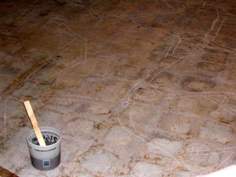 Chalk Layout Of Flagstone Design On Basement Concrete Floor After Stripping Black Cutback Tile Adhesive