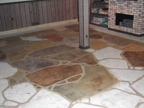 Acid-Staining Of Individual Rocks In Faux Finish Flagstone Design On Basement Concrete Floor