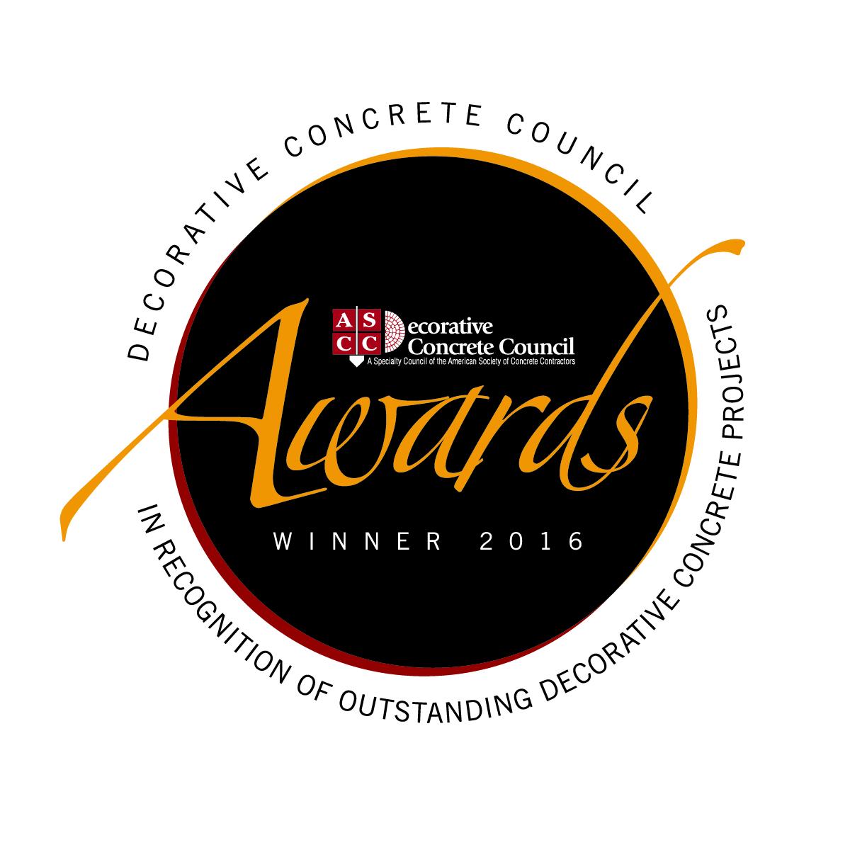 Decorative Concrete Council 2016 Project Awards Winner's Badge/Logo