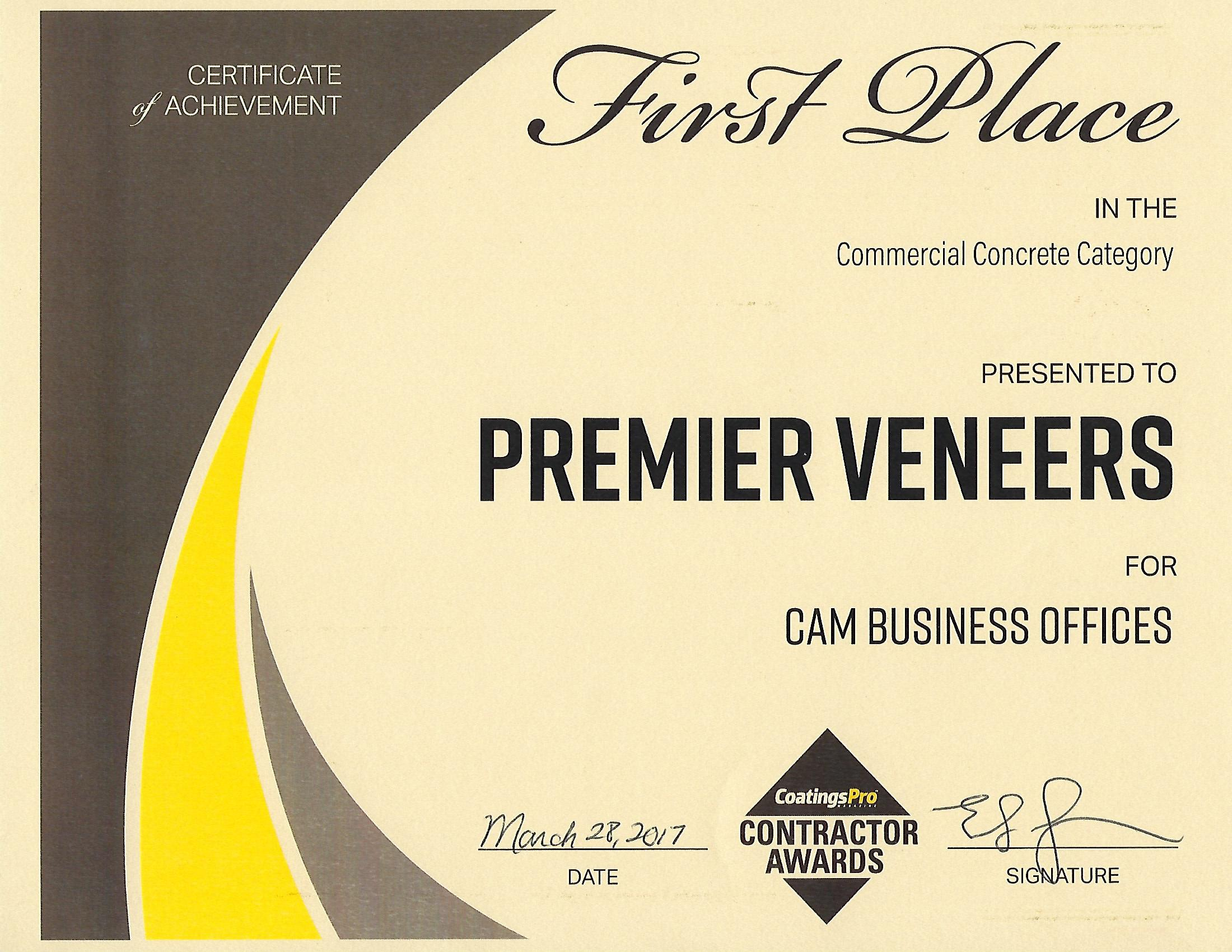 2017 Contractor Awards Program First Place Certificate From CoatingsPro Magazine