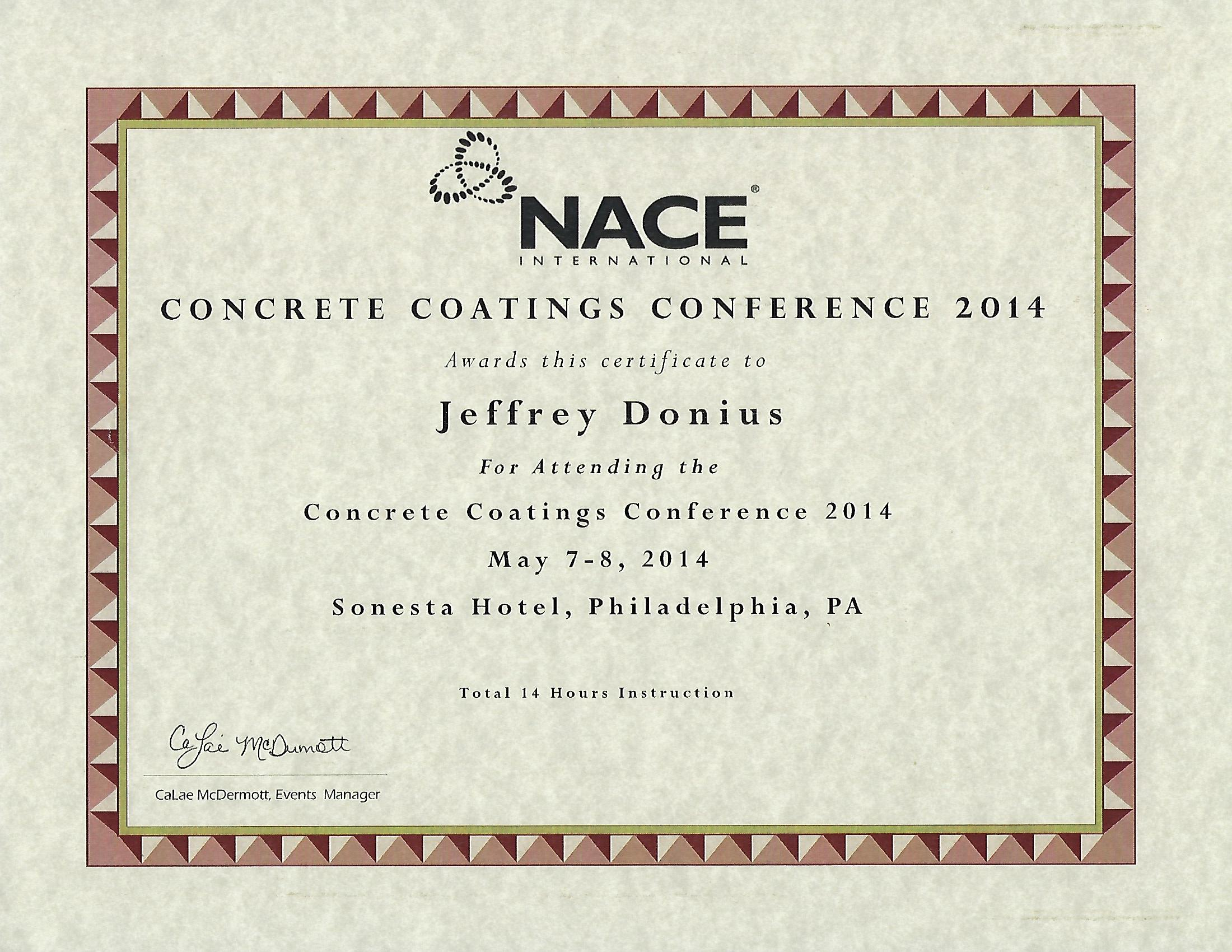 2014 Concrete Coatings Certificate From NACE International