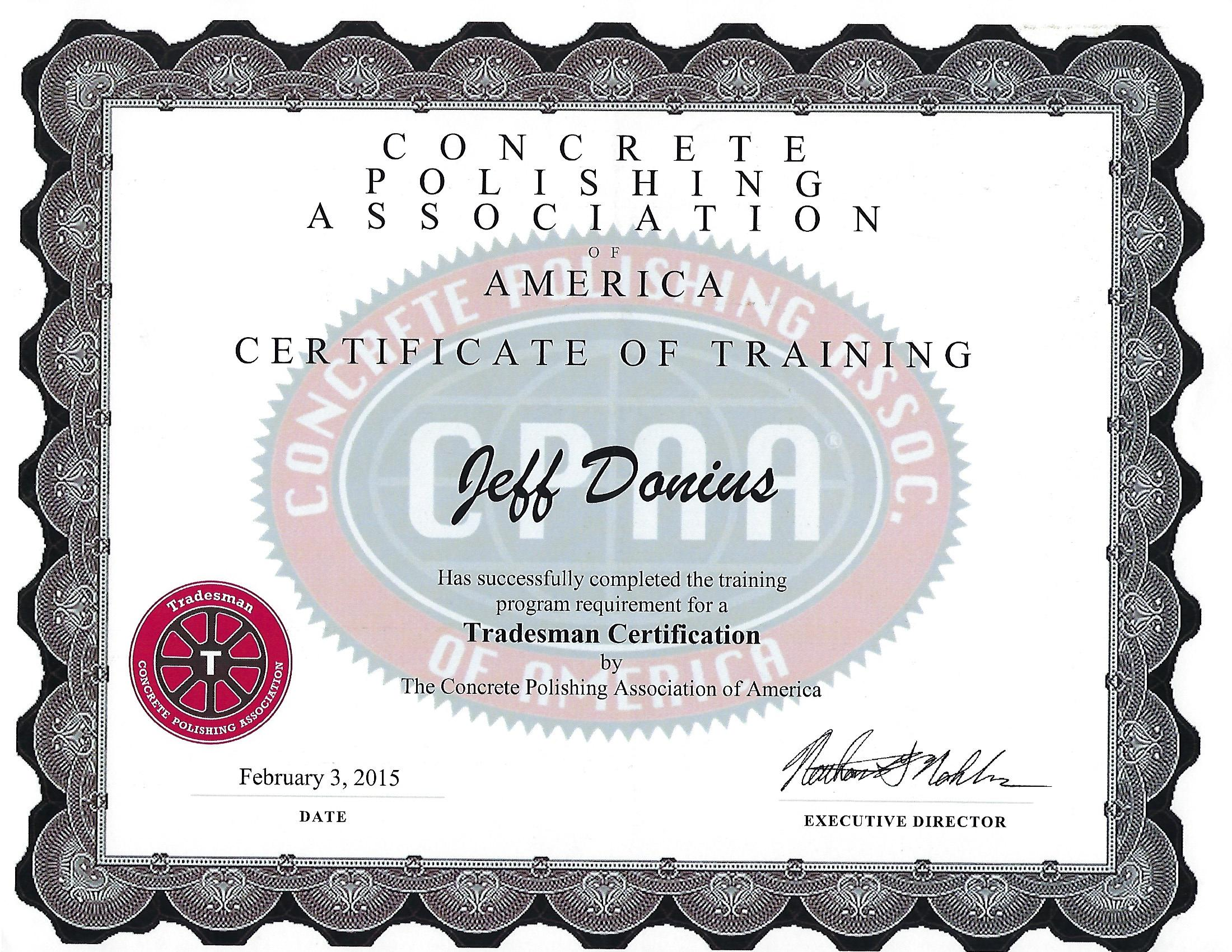 Tradesman Certificate From Concrete Polishing Association (Council) of American Society Of Concrete Contractors (ASCC)