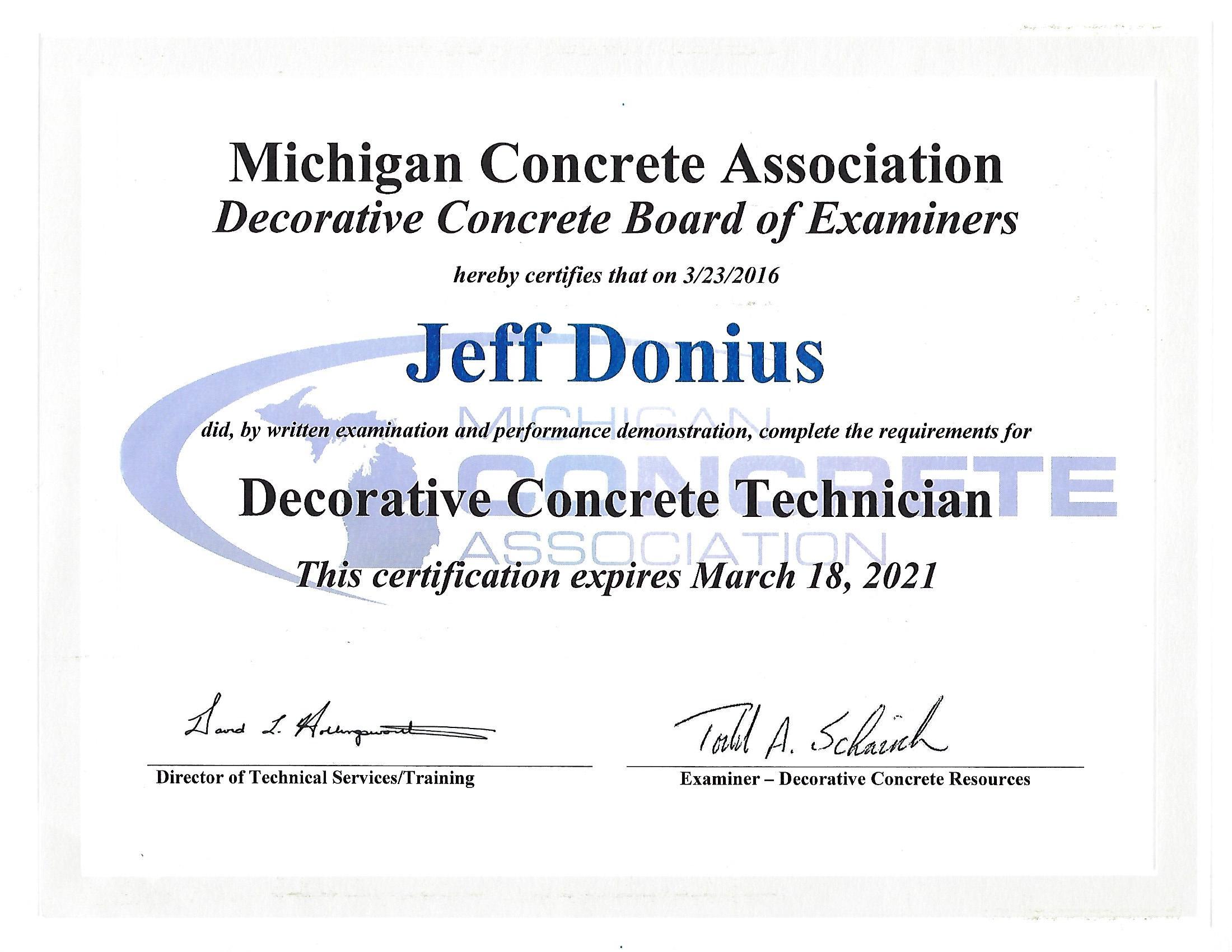 Decorative Concrete Training Certificate From Michigan Concrete Association (MCA)