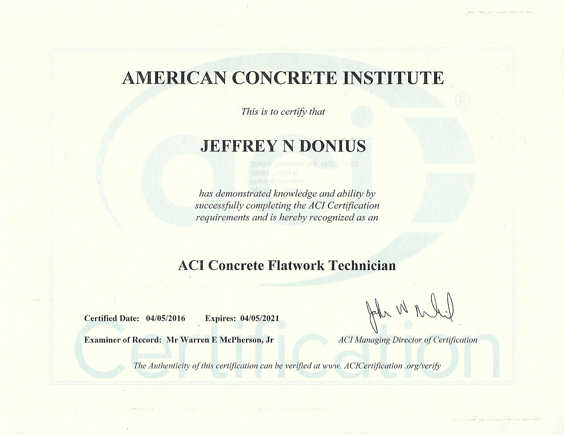 Flatwork Finisher Training Certificate From American Concrete Institute (ACI)