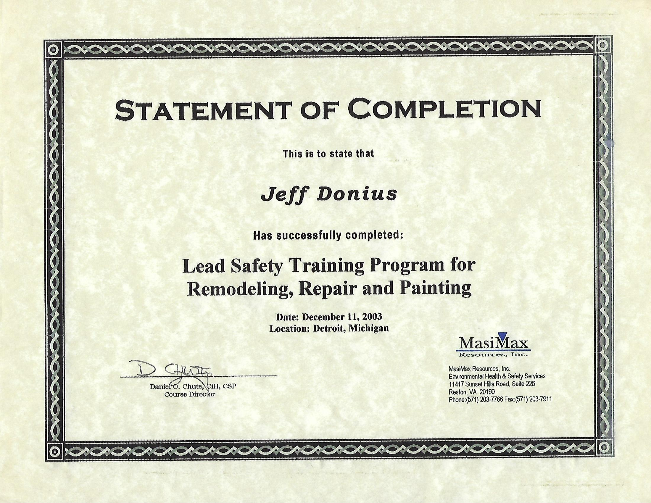 2003 Lead Safety Training Certificate