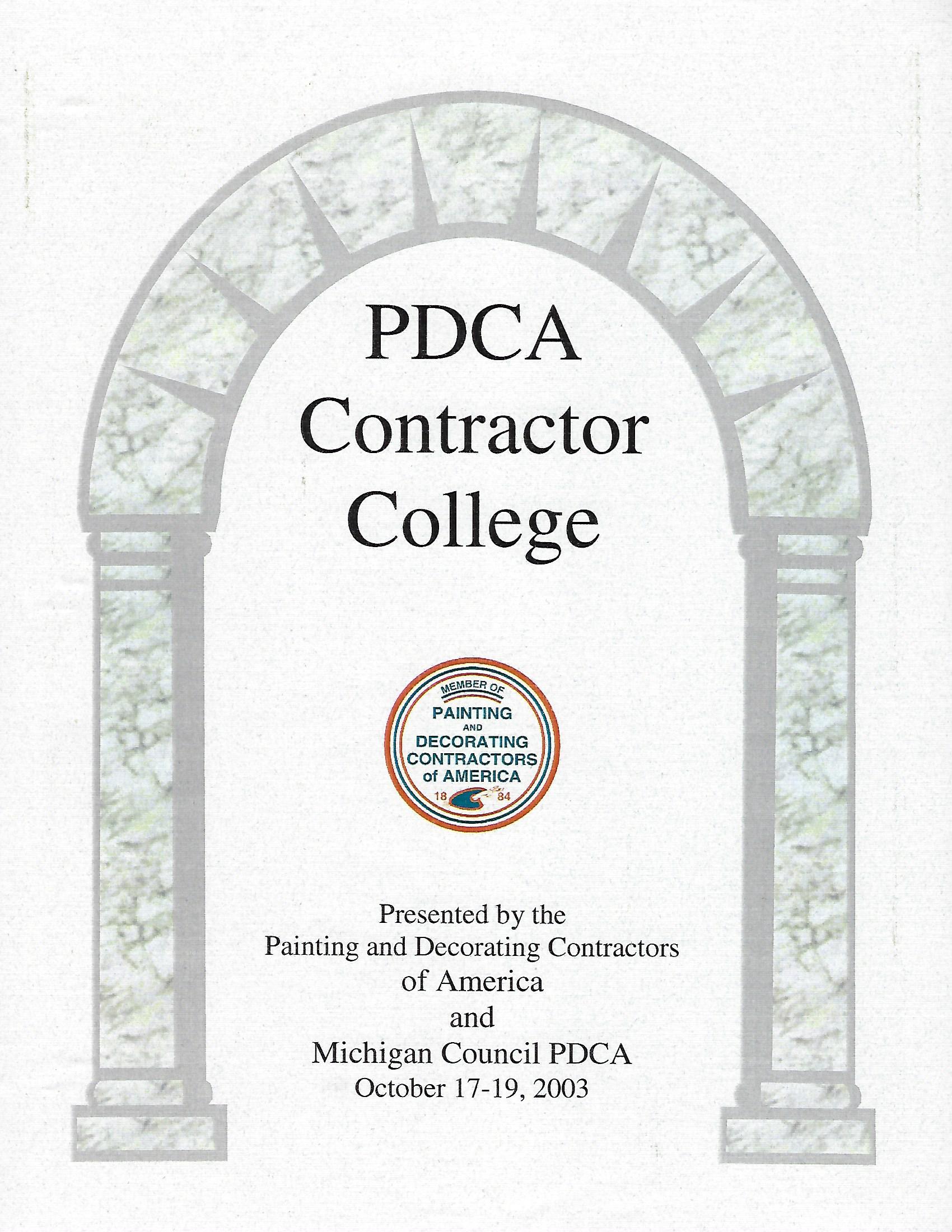 PDCA Contractor College Certificate