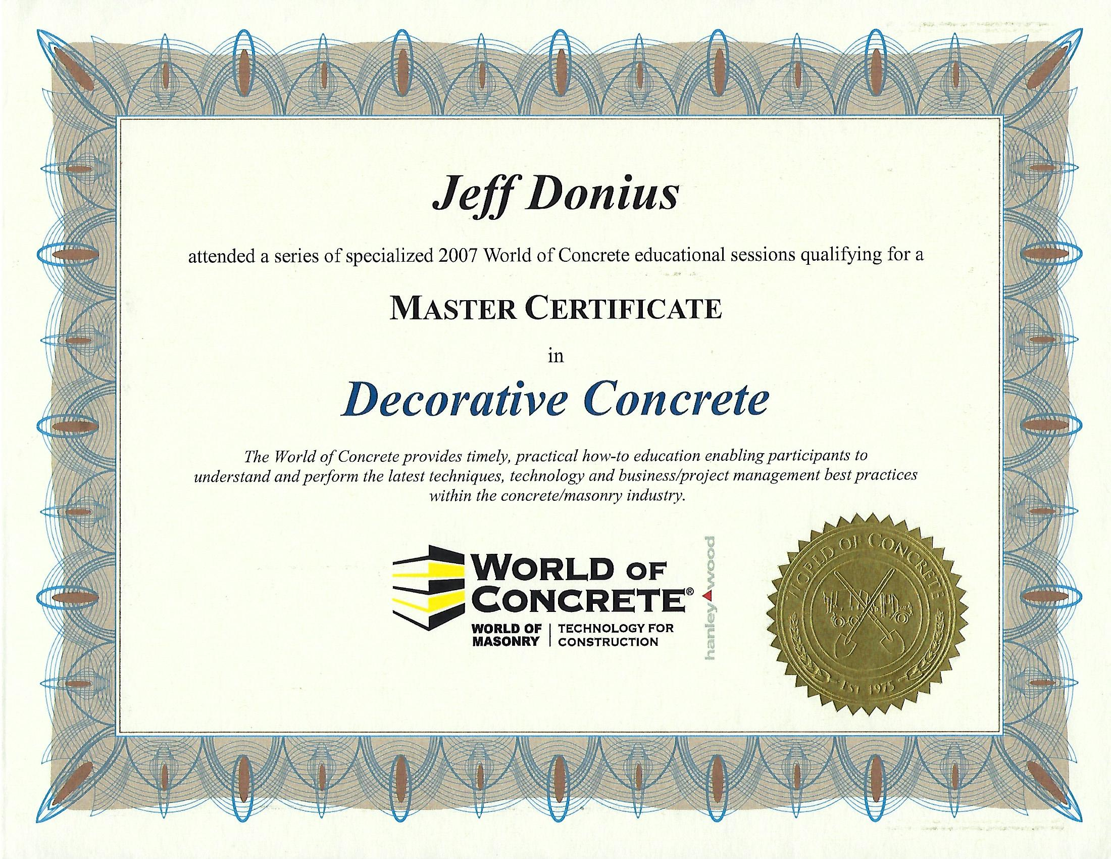 Master Certificate in Decorative Concrete From 2007 World Of Concrete (WOC)