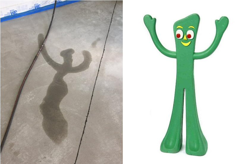 Oftentimes, a color discrepancy is not so harmless.  A leaking hose sat on this concrete floor overnight but ended up looking like a cartoon character.  We set up drying aids to remove the shadowing before applying the acid stain.