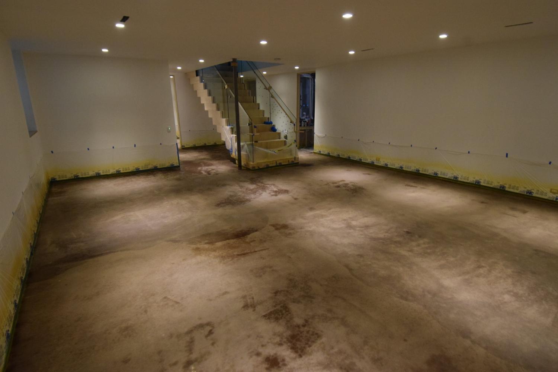 New Basement Concrete Floor Just After Applying Dark Brown/Black Acid Stain