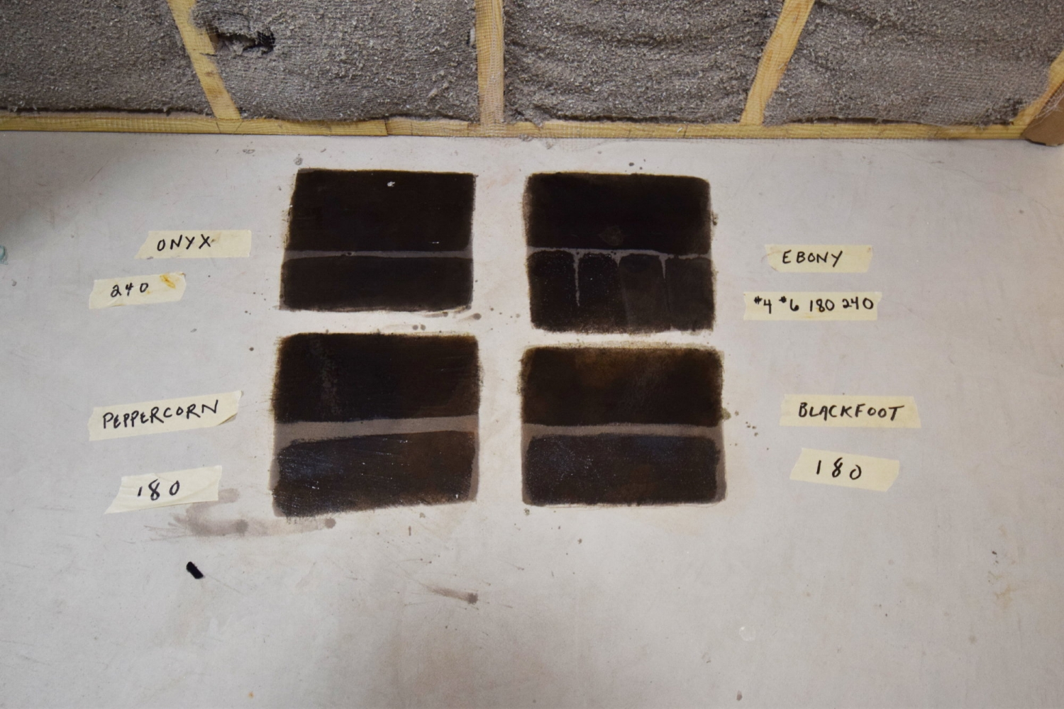 Basement Concrete Floor Black Acid-Stain Project Samples With Clear Sealer