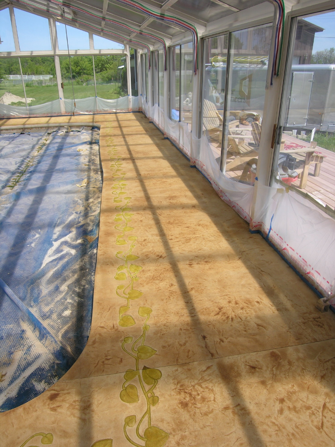 Acid-Stained, Stamped Decorative Cement Overlay With Border Of Indoor Concrete Pool Deck, Work In Progress