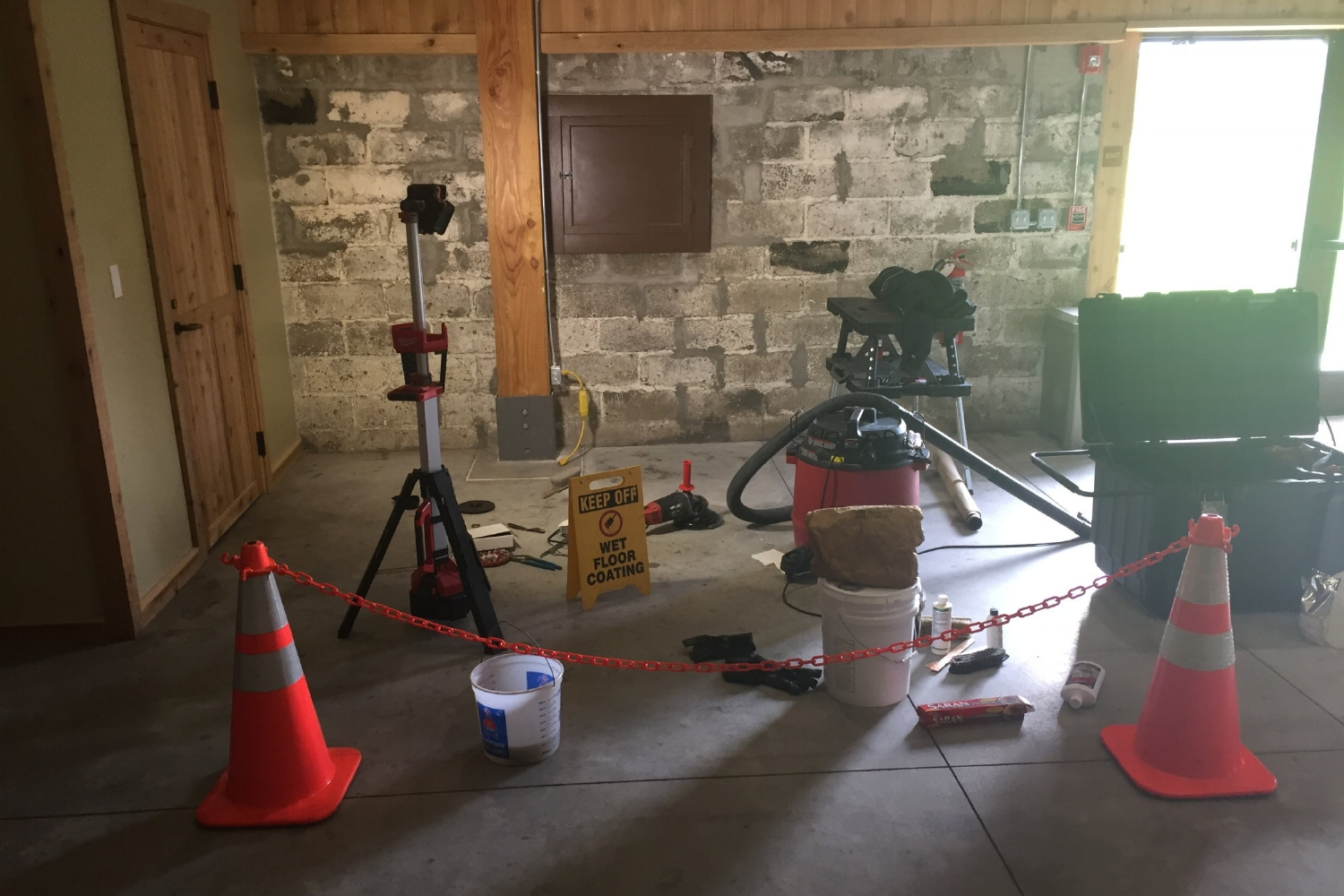 Contractor Work Area During Application Of Samples To Museum Concrete Floor