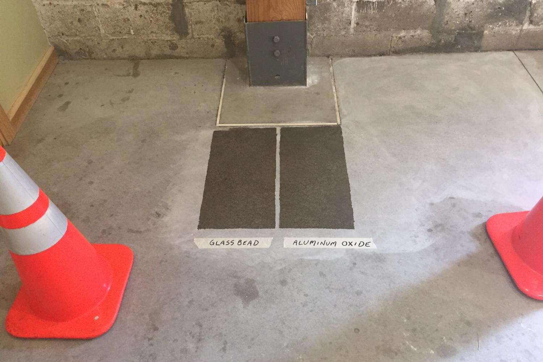 Mock-Up Samples Of New Polyurea Clear Sealer Flooring For Museum Concrete Floor