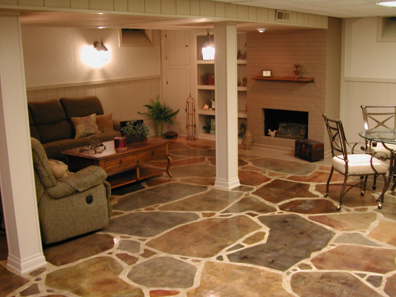 Basement Concrete Floor With Acid-Stained, Faux Finish Flagstone Design And Clear Sealer