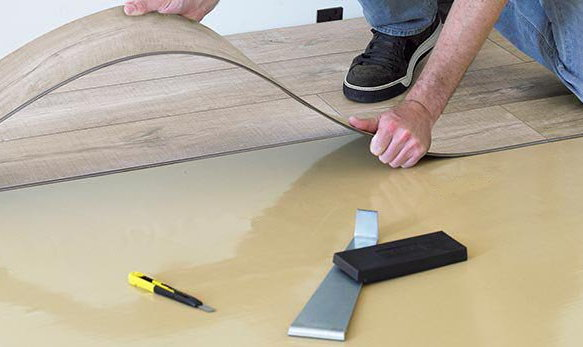 Self-leveling underlays always have floor coverings, like luxury vinyl tile, installed over top. This ensures full adhesion and prevents corners and edges of tile (and hardwood) from sticking up or coming loose.