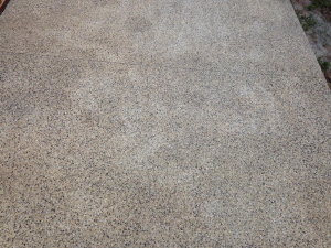 Improperly sealed, exposed aggregate concrete driveways often take on a blotchy, dull look after even just one winter. If you just reseal over this, without stripping first, it won't go away.