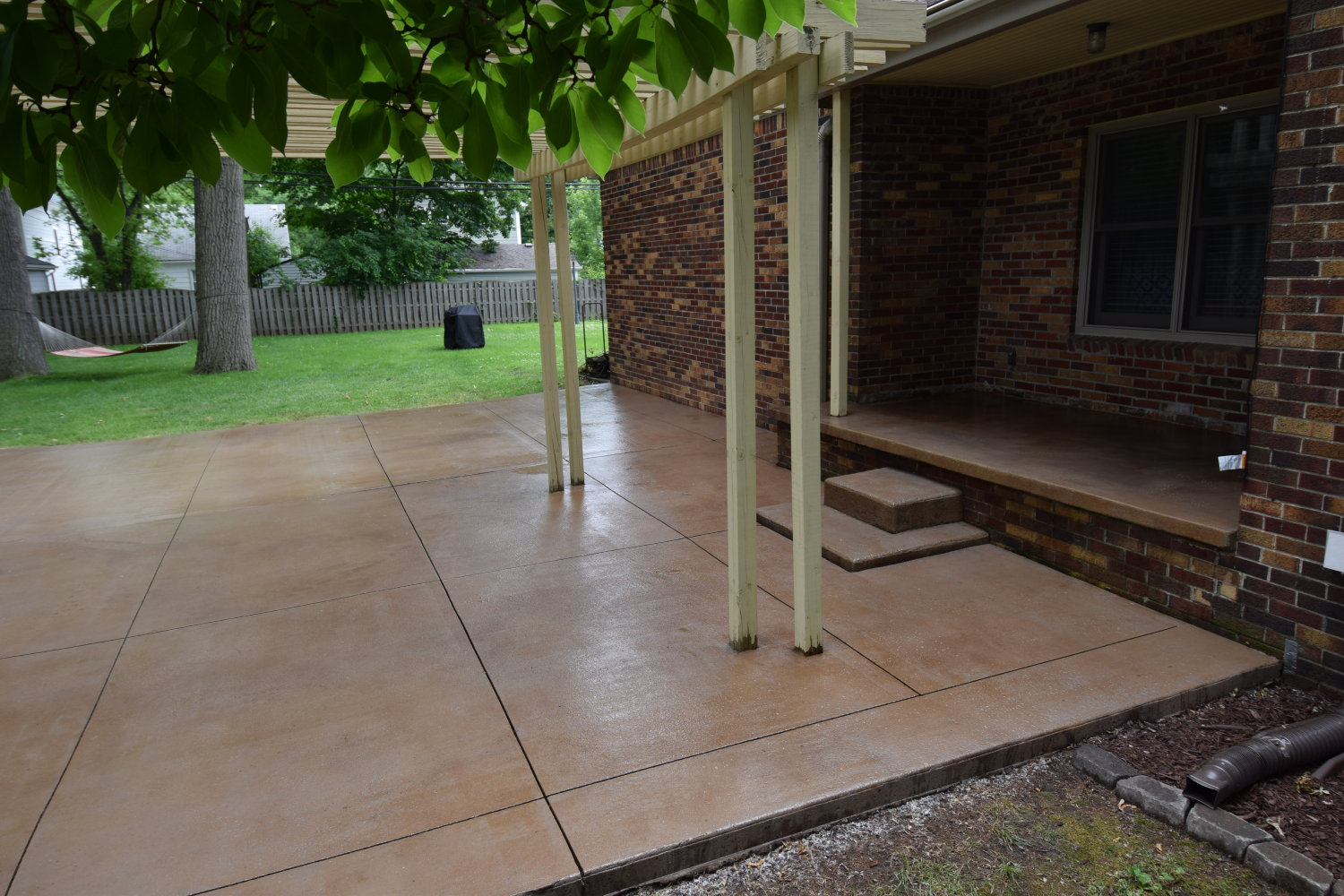 Acid-Stained Cement Overlay of Concrete Patio and Porch