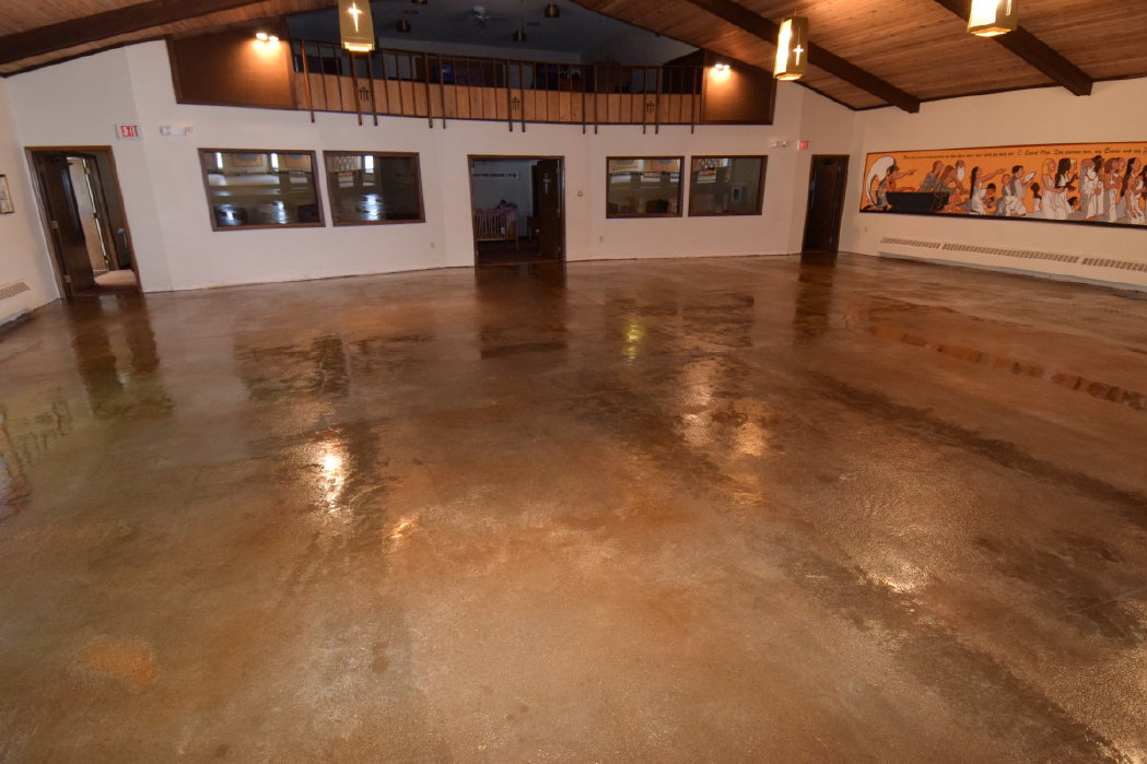 Concrete Patio With Integrally-Colored Thin Cement Overlay Being Applied