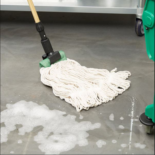 "This poly/cotton loop-end wet mop from   Continental Products   is ideal for cleaning acid-stained concrete, and much more durable than traditional, ""cut-end"" cotton mops."