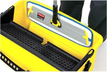 "This wet and dry mop frame holds an 18"" flat mop pad with lightweight aluminum construction, and a connecting mechanism that fastens securely to a quick‐connect handle that will save you time and effort."