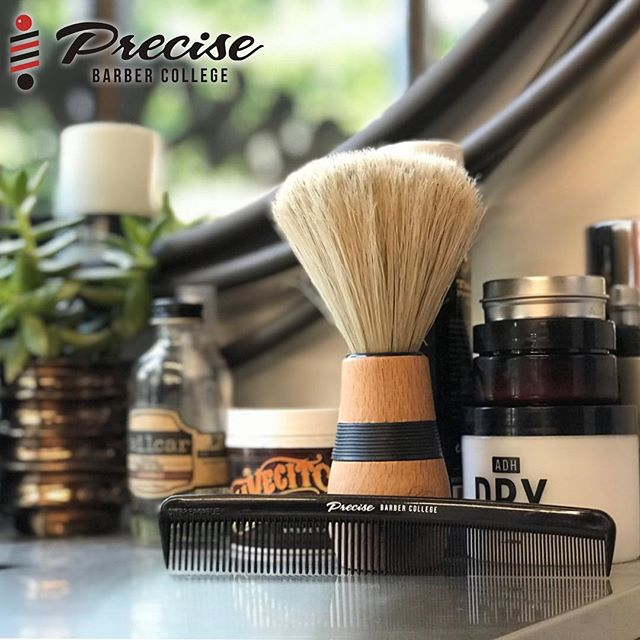 CHECK OUT OUR PRECISE BARBER COLLEGE COMBS. THE PERFECT ADDITION TO THIS STATION #precisebarbercollege #education #losangeles #covenanthousecalifornia #barbers #barbertools #comb #adhdry #suavecito #brush #craft