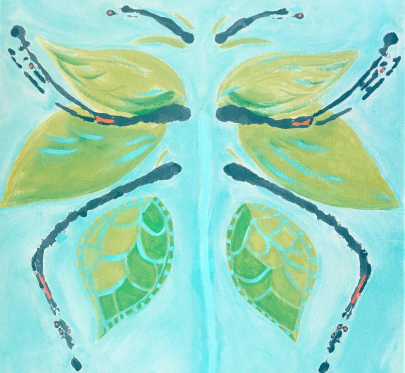 "Green Butterfly | 28""h x 30""w | Acrylic on Canvas | Abstract Art | Dandridge Art"