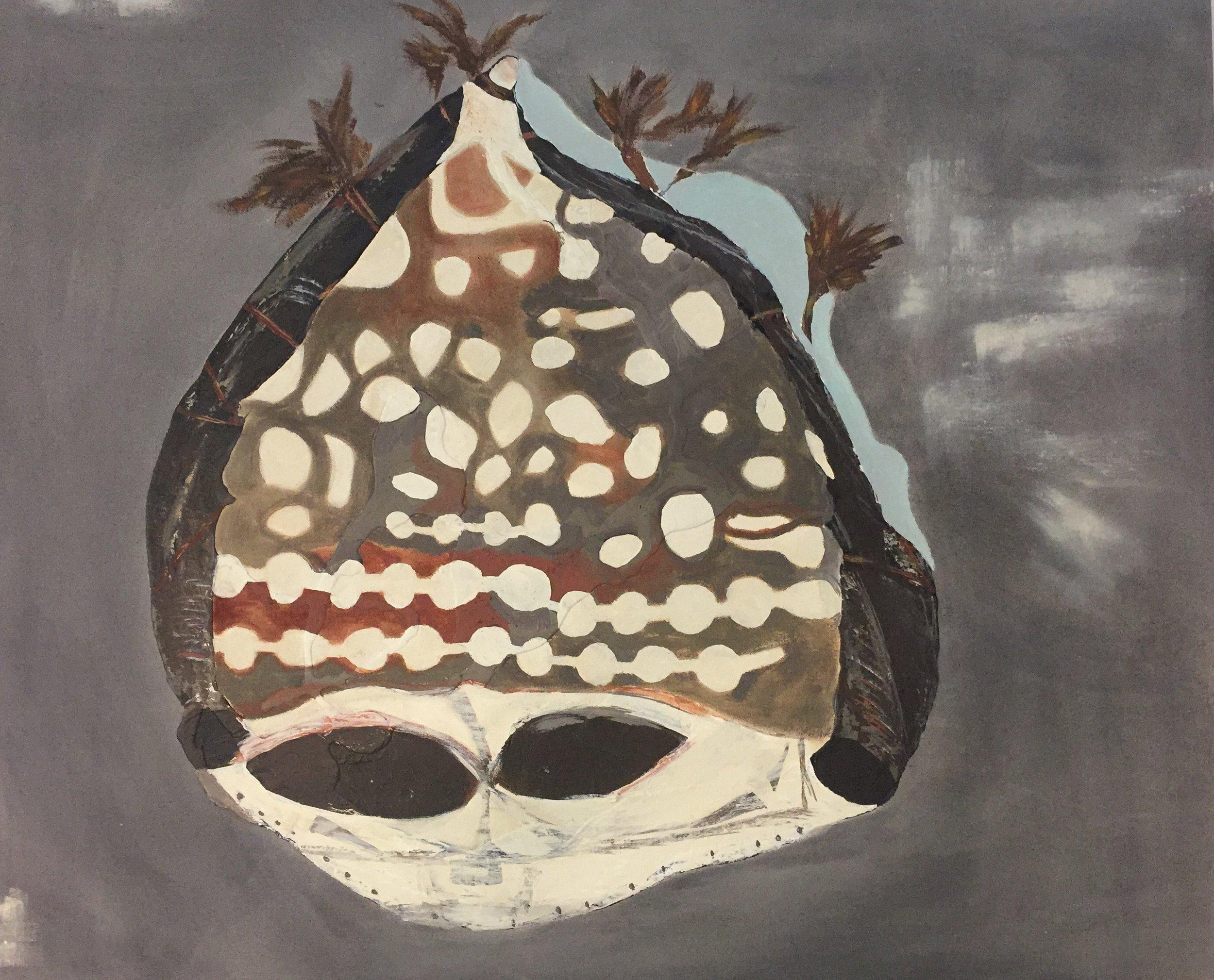 "Leopard Mask | 28""h x 43""w | Acrylic on Canvas | Abstract Art | Dandridge Art"