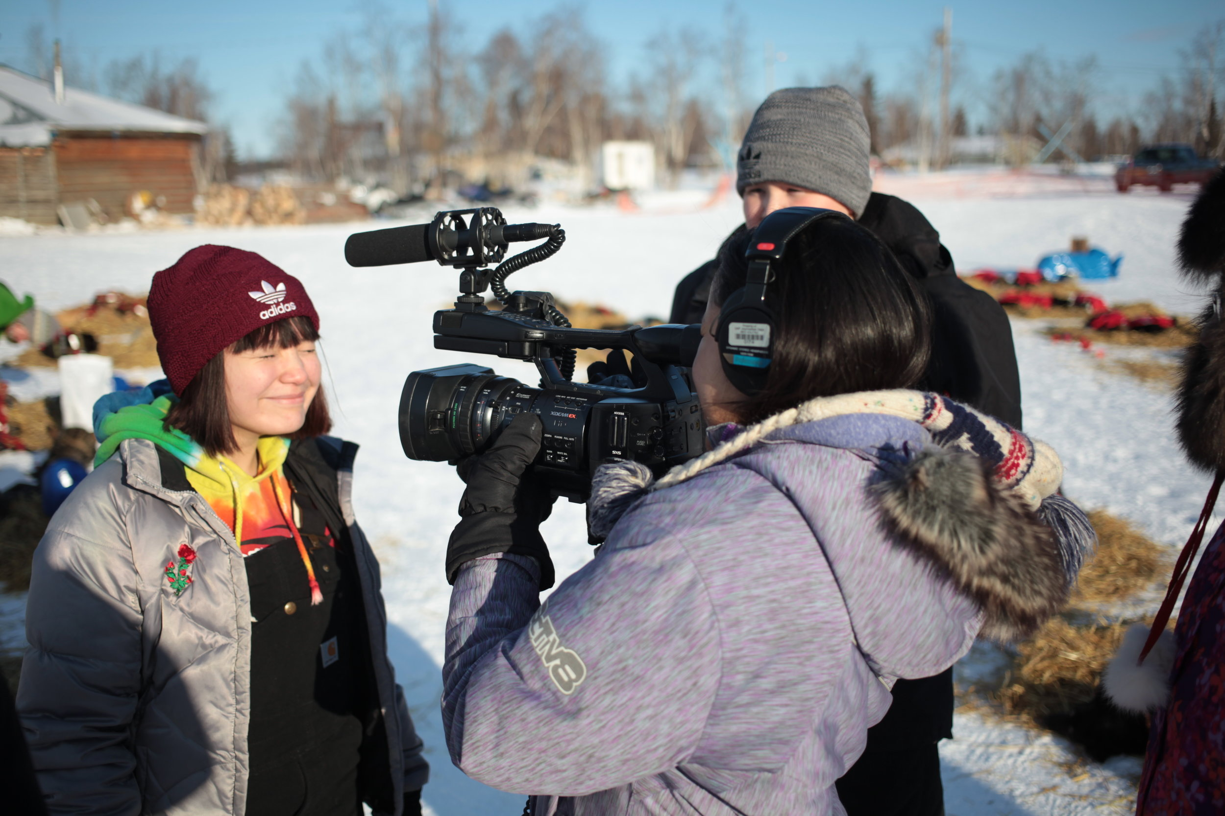 Huslia student being interviewed, March 2017