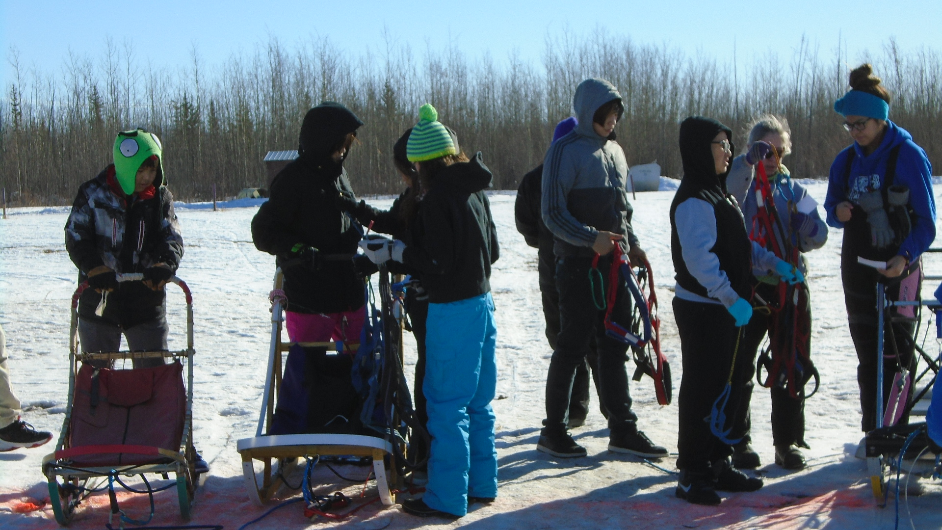 Mentasta Lake School students with sleds at Tok Track.
