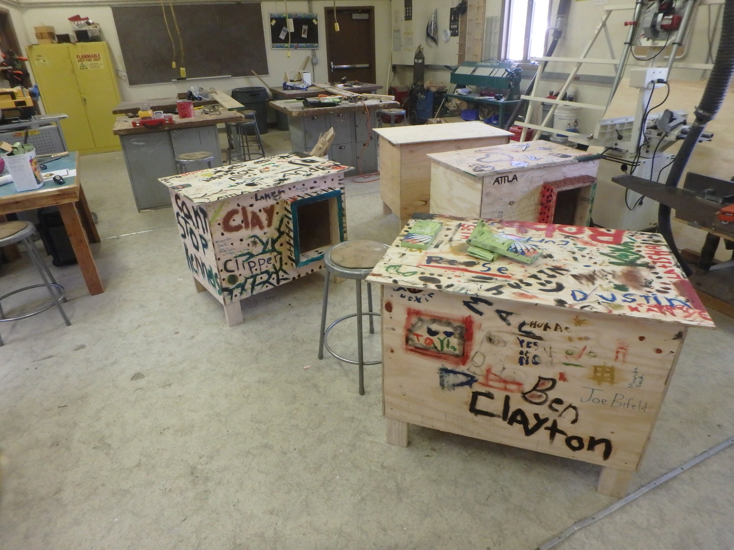 Dog boxes finished by Minto School students.