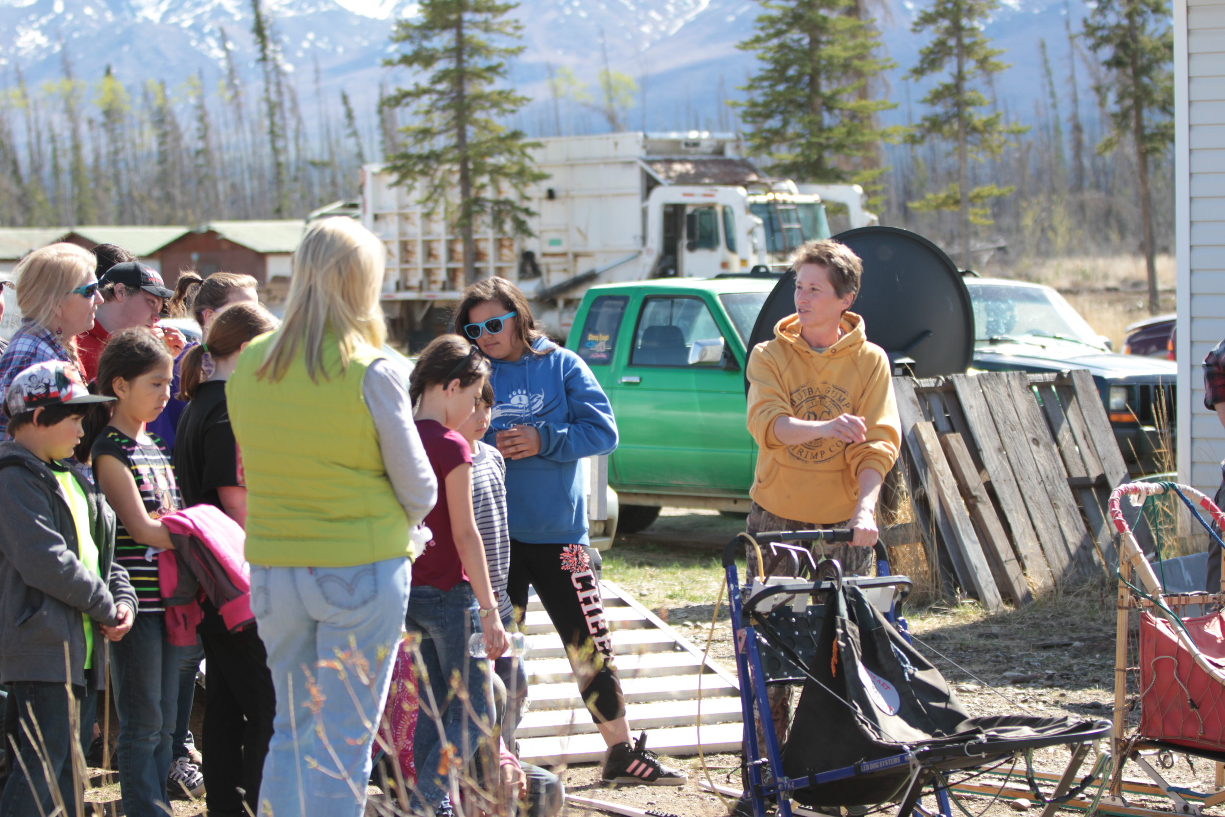 Eagle & Tanacross students learn about the sled.